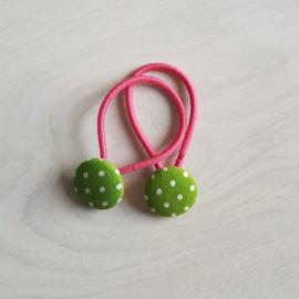 Haarelastiekjes groen met  stippen