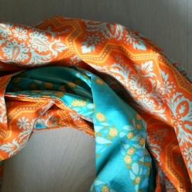 Infinity sjaal Oranje/Blauw Bloem