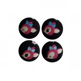 Magneetjes Hertje zwart/roze (23 mm)