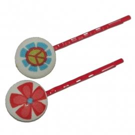 Hippe schuifjes hippie bloemetjes op crème (rood)