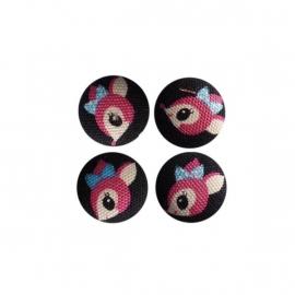 Magneetjes Hertjes zwart/roze (19 mm)