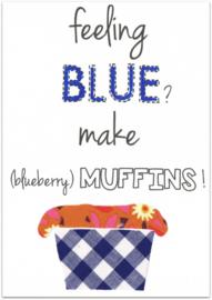 Wenskaart + Recept Blueberry Muffin
