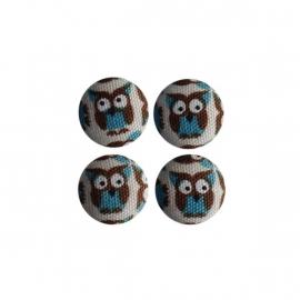 Magneetjes Uiltjes blauw bruin (19 mm)