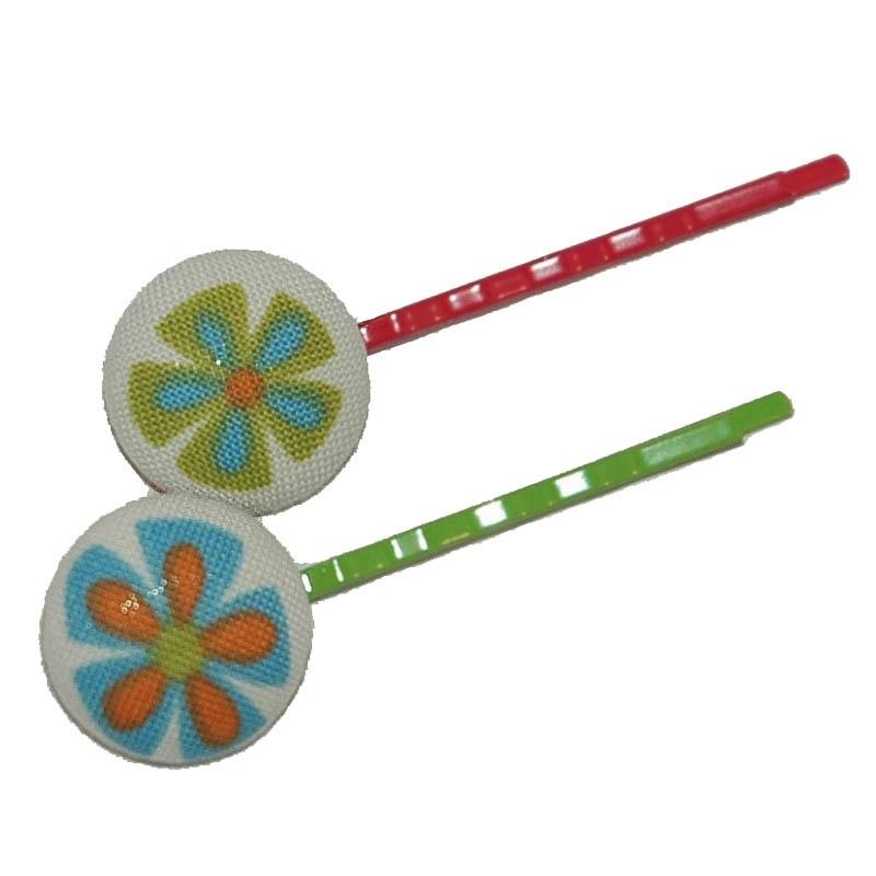 Hippe schuifjes met Hippie Bloemetjes (rood/groen)