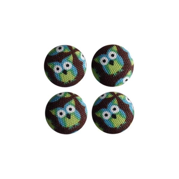 Magneetjes Uiltjes groen/bruin (19 mm)