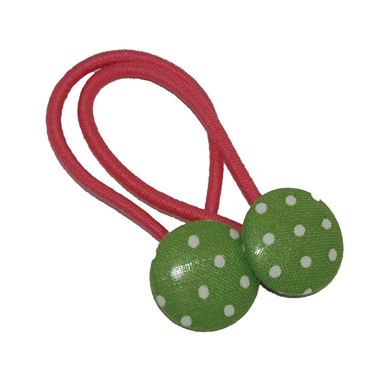 Haarelastiekjes groen met witte stippen