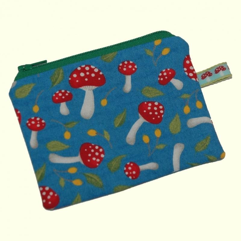 Mini portemonneetje paddestoeltjes (blauw)