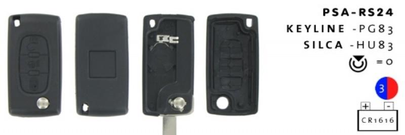 Peugeot/Citroen 3- knops klapsleutel MB