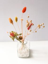 Vierkant vaasje met droogbloemen
