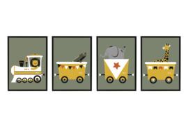 SET VAN 4 - trein met dieren olijfgroen