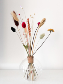 Vaasje met droogbloemen 12x12 cm