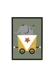 Wagon met Olifant Olijfgroen