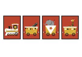 SET VAN 4 - trein met dieren