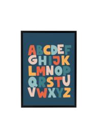 Alfabet met Vogel Donkerblauw