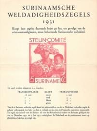 ¤¤¤ 1931 SURINAME Steuncomité Affiche