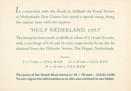¤¤¤¤¤ 1953 NNG Watersnood PTT Folder Engels