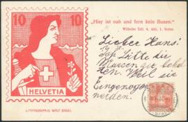 © 1907 SWITZERLAND Stamp Helvetia