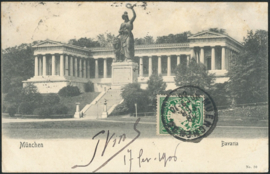 © 1906 - BAVARIA Statue Bavaria Munich with lion