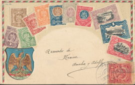 © 1907 - MEXICO Heraldic eagle Coat of arms