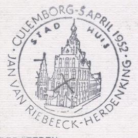 ® Sp. stempel Culemborg 5 april Jan van Riebeeck Herdenking