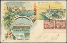 © 1902 - MALTA Marsamuscetto harbor Valletta