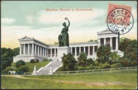 © 1909 - BAVARIA Statue Bavaria Munich with lion