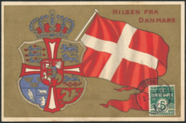 © 1913 - DENMARK Royal crown Heraldic shield