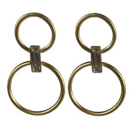 Jozemiek statement oorbel dubbele ring - goud of zilver