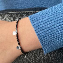 Jozemiek Zwarte kralen armband met  hartjes - zilver