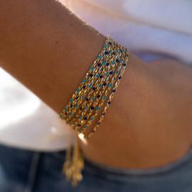 ONE DAY charity bracelet  aqua (14k plated geelgoud  of  witgoud)