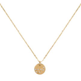 Scorpio/Schorpioen necklace ,stainless-steel plated with 18k gold met giftcard en envelop