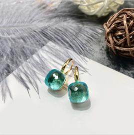 Jozemiek Stone earring Aqua - Goud