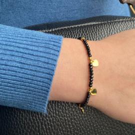 Jozemiek Zwarte kralen armband met  hartjes - goud