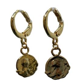 Vintage gold earring bewerkte munt