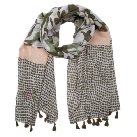 Sjaal pink/green tassel