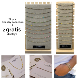ONE DAY charity necklace & bracelet set 22pcs incl. 2gratis display's