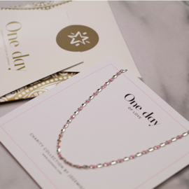 ONE DAY charity necklace Pink (14k geelgoud  of  witgoud)