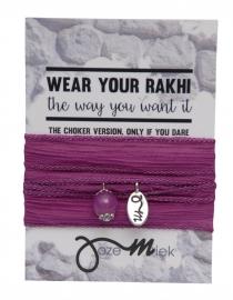 Rakhi choker /wrapbracelet Raspberry