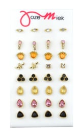VINTAGE studs  GOLD (16 paar) incl. gratis display of gratis quote kaartjes