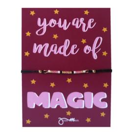"""pull tie armbandje met gratis """"Magic  ... """"quote kaartje"""