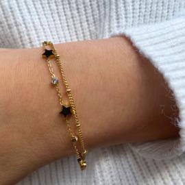 Jozemiek Stainless -steel sterren armbandje  -goud
