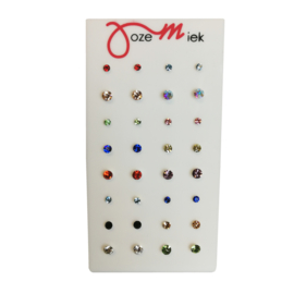 Multicolor zirkonia studs rond  (16 paar) incl. gratis display of gratis quote kaartjes