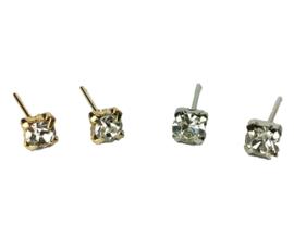 VINTAGE  stone Stud oorbel  zilver of goud