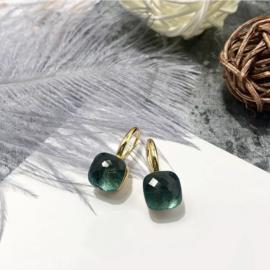 Jozemiek Stone earring Mos Groen - Goud