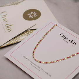 ONE DAY charity necklace fuchsia (14k geelgoud  of  witgoud)