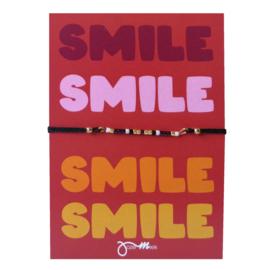 """pull tie armbandje met gratis """"Smile ... """"quote kaartje"""