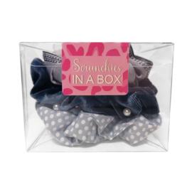 Scrunchie set grijsblauw in geschenk verpakking