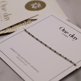 ONE DAY charity bracelet  black (14k plated geelgoud  of  witgoud)