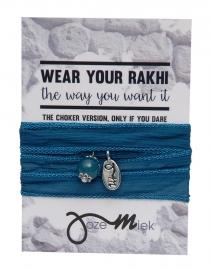Rakhi choker /wrapbracelet Yale blue