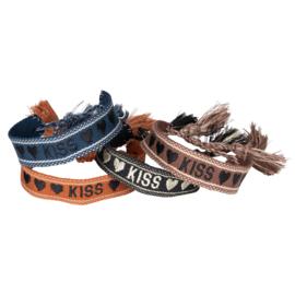 Bohemian quote armbandjes set :  KISS 4pcs